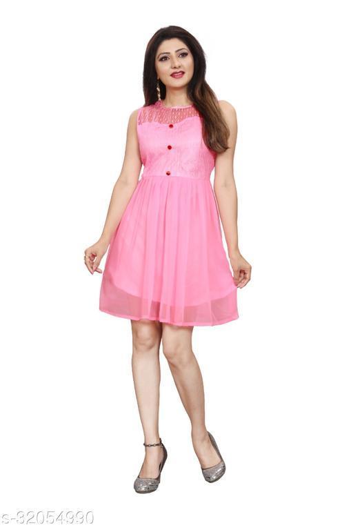 Western Label Geogette Women Casual Knee Length Midi | Mini Skater Dress - Pink
