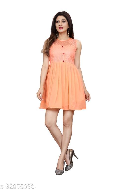 Western Label Geogette Women Casual Knee Length Midi | Mini Skater Dress - Orange