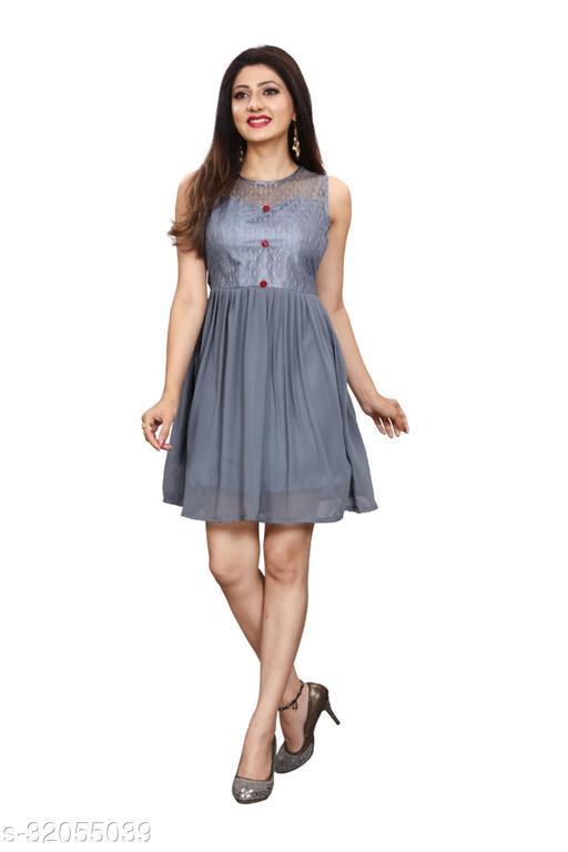 Western Label Geogette Women Casual Knee Length Midi | Mini Skater Dress - Grey