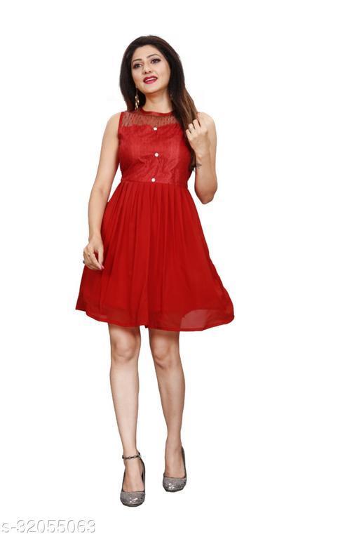 Western Label Geogette Women Casual Knee Length Midi | Mini Skater Dress - Red