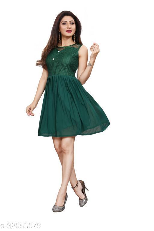 Western Label Geogette Women Casual Knee Length Midi | Mini Skater Dress - Green