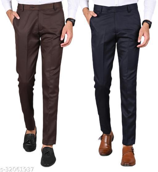 MANCREW Men's Slim Fit Formal Trousers - Brown, Navy Blue Combo (Pack Of 2)