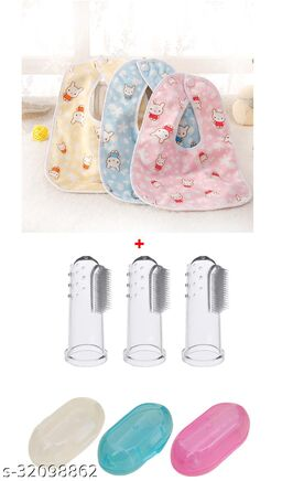 ITSYYBOO 3 BIBS WATERPROOF & FINGER BRUSH WITH CASE 1 SET