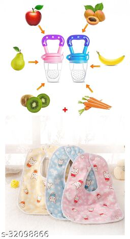 ITSYYBOO PACK OF 3 REUSEABLE BIB  WITH 1PC FRUIT NIBBLER
