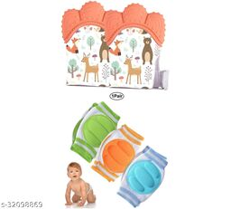 ITSYYBOO 2 GLOVE TEETHER + 1 PAIR KNEE PAD FOR BABIES