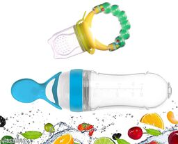 ITSYYBOO FRUIT FEEDER WITH RATTLE & SPOON WITH BOTTLE MULTICOLOR