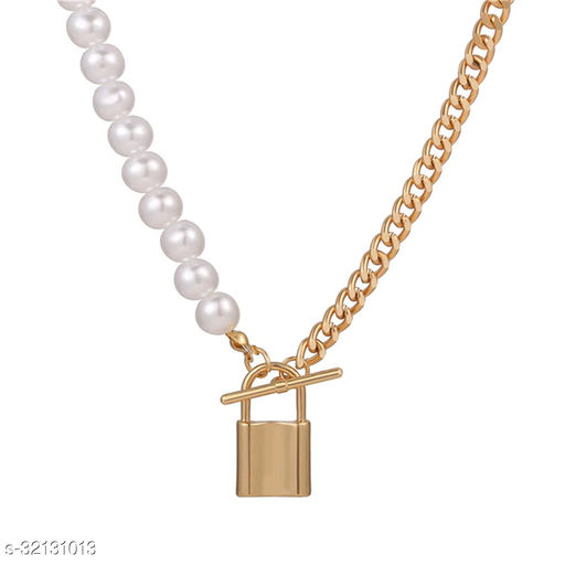 Z Jewels Stunning Gold Plated Pearl Lock Design Necklace for Women/Girls