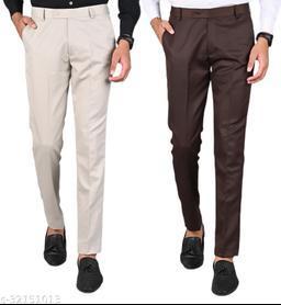 Men's Slim Fit Formal Trousers - Beige, Coffee Combo (Pack Of 2)