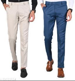 Men's Slim Fit Formal Trousers - Beige, Blue Combo (Pack Of 2)