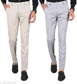 MANCREW Men's Slim Fit Formal Trousers - Beige, Light Grey Combo (Pack Of 2)
