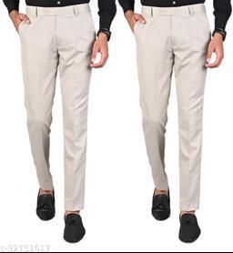 MANCREW Men's Slim Fit Formal Trousers - Beige Combo (Pack Of 2)