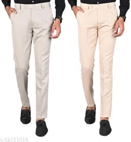 MANCREW Men's Slim Fit Formal Trousers - Beige, Cream Combo (Pack Of 2)