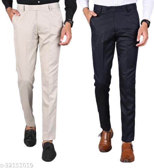 MANCREW Men's Slim Fit Formal Trousers - Beige, Navy Blue Combo (Pack Of 2)
