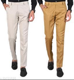MANCREW Men's Slim Fit Formal Trousers - Beige, Khaki Combo (Pack Of 2)