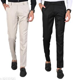 MANCREW Men's Slim Fit Formal Trousers - Beige, Black Combo (Pack Of 2)