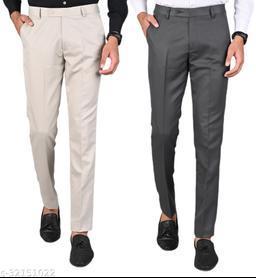 MANCREW Men's Slim Fit Formal Trousers - Beige, Dark Grey Combo (Pack Of 2)