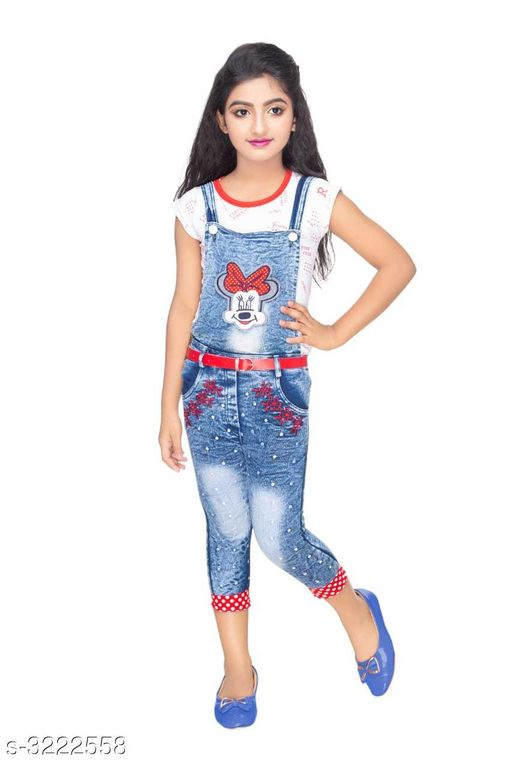 Dungarees Elegant Cotton Kid's Girl's Dungaree  *Fabric* Top - Cotton, Dungaree - Denim    *Sleeves* Sleeves Are Included  *Size* Age Group (2 - 3 Years) - 20 in Age Group (3 - 4 Years) - 22 in Age Group (4 - 5 Years) - 24 in Age Group (5 - 6 Years) - 26 in Age Group (6 - 7 Years) - 28 in Age Group (7 - 8 Years) - 30 in Age Group (8 - 9 Years) - 30 in  *Type* Stitched  *Description* It Has 1 Piece Of Kid's Girl's Top & 1 Piece Of Kid's Dungaree  *Work* Printed  *Sizes Available* 2-3 Years, 3-4 Years, 4-5 Years, 5-6 Years, 6-7 Years, 7-8 Years, 8-9 Years *   Catalog Rating: ★4 (406)  Catalog Name: Cutiepie Elegant Cotton Kid's Girl's Dungarees Vol 1 CatalogID_443969 C62-SC1152 Code: 644-3222558-