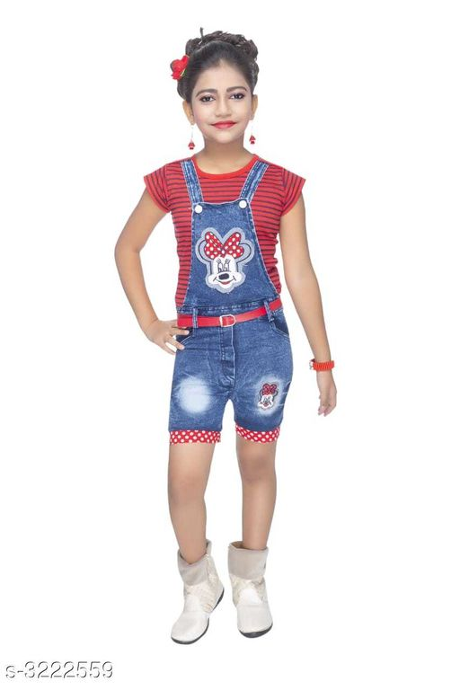 Dungarees Elegant Cotton Kid's Girl's Dungaree  *Fabric* Top - Cotton, Dungaree - Denim    *Sleeves* Sleeves Are Included  *Size* Age Group (2 - 3 Years) - 20 in Age Group (3 - 4 Years) - 22 in Age Group (4 - 5 Years) - 24 in Age Group (5 - 6 Years) - 26 in Age Group (6 - 7 Years) - 28 in Age Group (7 - 8 Years) - 30 in  *Type* Stitched  *Description* It Has 1 Piece Of Kid's Girl's Top & 1 Piece Of Kid's Dungaree  *Work* Printed  *Sizes Available* 2-3 Years, 3-4 Years, 4-5 Years, 5-6 Years, 6-7 Years, 7-8 Years, 8-9 Years, 1-2 Years *   Catalog Rating: ★4 (382)  Catalog Name: Cutiepie Elegant Cotton Kid's Girl's Dungarees Vol 1 CatalogID_443969 C62-SC1152 Code: 853-3222559-