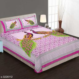 Stylish Printed Pure Cotton Double Bedsheet