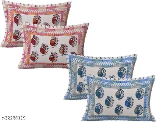 Beautiful Dancing Peacock Printed Cotton Pillow Covers (16x24 Inch) Pack Of 4