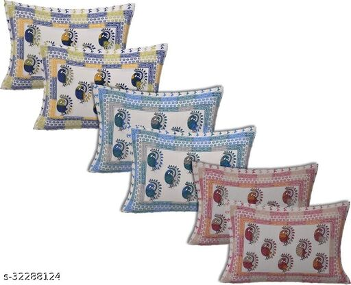 Beautiful Dancing Peacock Printed Cotton Pillow Covers (16x24 Inch) Pack Of 6