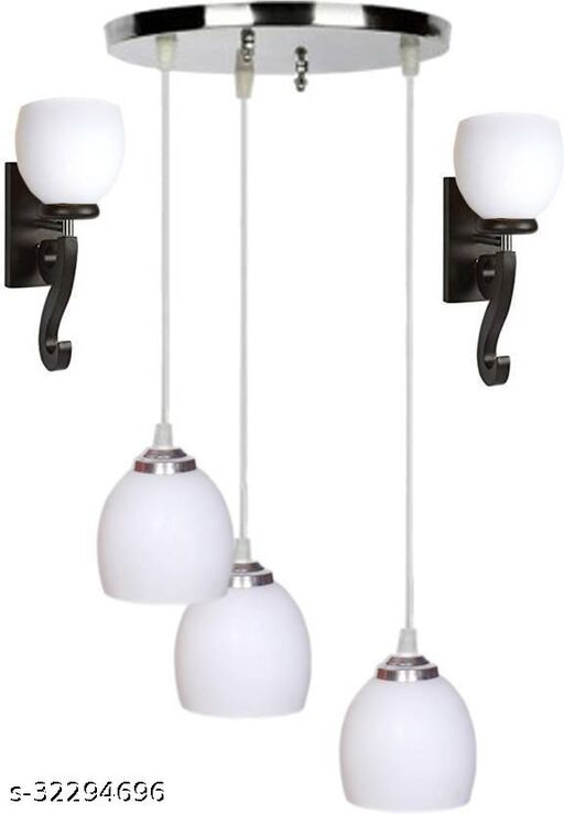 Afast Pandent Three Hanging Ceiling Lamp Como With Two Matching Wall Lamp Of Colorful & Decorative Glass Shade