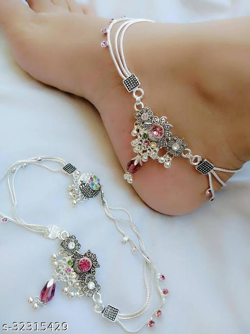 Alloy Designer Silver Plated Anklets