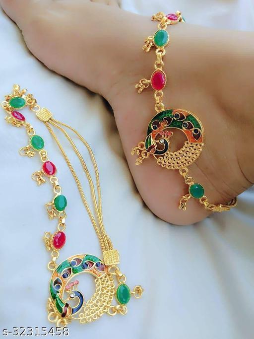 Alloy Designer Gold Plated Anklets