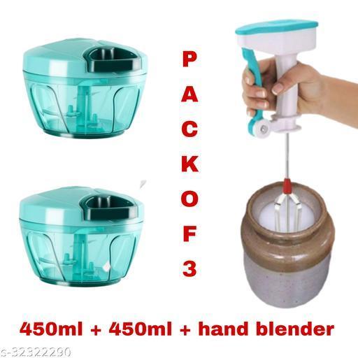 MultiPurpose of 450 ML Vegetable Chopper And Hand Blender (Multicolor,Pack Of 3)