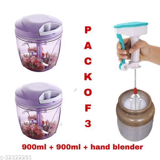 MultiPurpose of 900 ML Vegetable Chopper And Hand Blender (Multicolor , Pack Of 3)