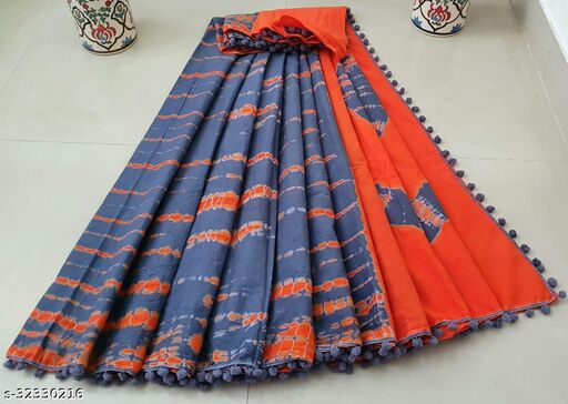 Handblock Printed Cotton Mulmul Fabric Saree With Blouse Piece With Attached POM-POM lace Trending Designs With POM-POM Lace_MEE899