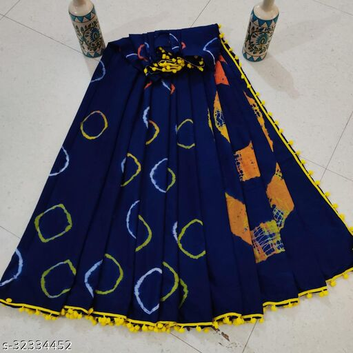Handblock Printed Cotton Mulmul Fabric Saree With Blouse Piece With Attached POM-POM lace Trending Designs With POM-POM Lace_MEE900