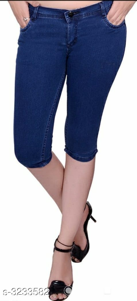 Capris Ladies Denim Capris  *Fabric* Denim  *Waist Size* 36 in, 38 in, 40 in  *Length* Up to 36 in  *Type* Stitched  *Description* It Has 1 Piece Of Capri  *Pattern* Solid  *Sizes Available* 30, 32, 34, 36, 38, 40 *    Catalog Name: Stylish Ladies Denim Capris CatalogID_445705 C79-SC1037 Code: 914-3233582-