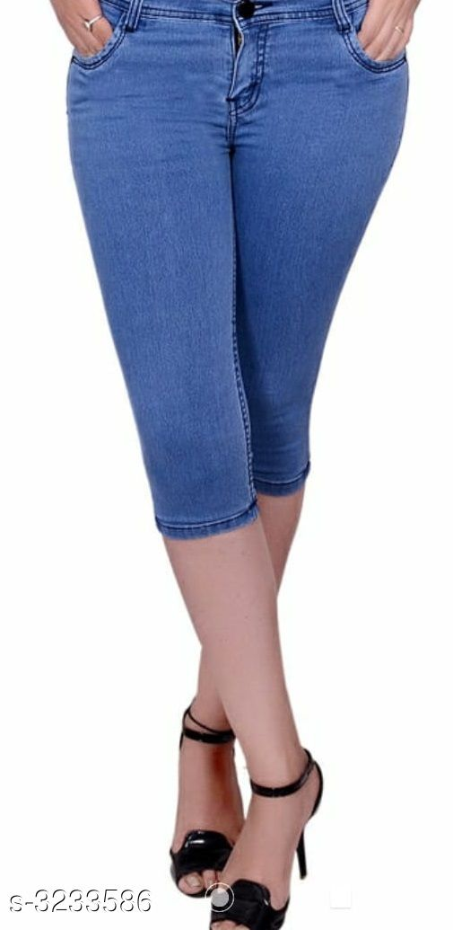 Capris Ladies Denim Capris  *Fabric* Denim  *Waist Size* 36 in, 38 in, 40 in  *Length* Up to 36 in  *Type* Stitched  *Description* It Has 1 Piece Of Capri  *Pattern* Solid  *Sizes Available* 30, 32, 34, 36, 38, 40 *    Catalog Name: Stylish Ladies Denim Capris CatalogID_445705 C79-SC1037 Code: 104-3233586-