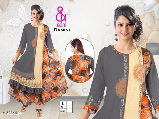 Kurta Sets Attractive Soft Cotton Women's Kurta Set  *Fabric* Kurti - Soft Cotton, Bottom - Soft Cotton  *Sleeves* Sleeves Are Included  *Size* Kurti  - L - 40 in, XL - 42 in, XXL - 44 in ,Bottom - L - 28 in To 32 in, XL - 32 in To 34 in, XXL - 34 in To 38 in  *Type* Stitched  *Length* Kurti - Up To 46 in, Bottom - Up To 40 in  *Description* It Has 1 Piece Of Women's Kurti With 1 Piece Of Bottom  *Work * Printed  *Sizes Available* L, XL, XXL   Supplier Rating: ★4.1 (3038) SKU: DAMINI ORANGE Shipping charges: Rs1 (Non-refundable) Pkt. Weight Range: 500  Catalog Name: Siya Attractive Soft Cotton  Women's Kurta Sets Vol 11 - Step up wear Code: 577-3234611--058