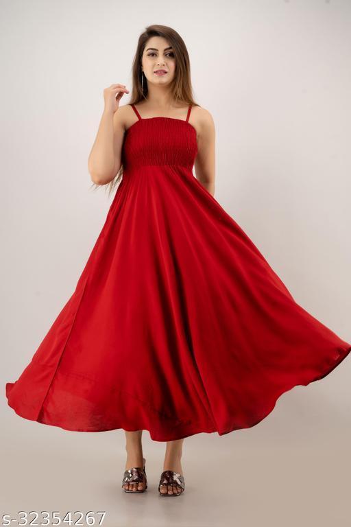 Designer Red Rayon A-line Bobbin Dress For Women