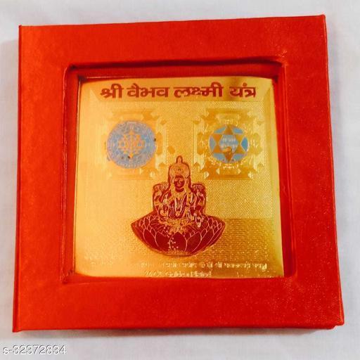 KESAR ZEMS ENERGIESED Gold Plated SREE VAIBHAV LAXMI Yantra(7.5 X 7.5 X 0.01 CM) Golden