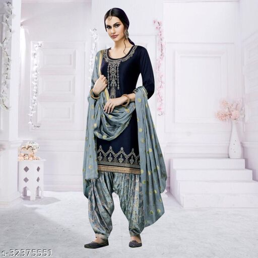 Women's Giles Cotton Semi Stitched Embroidered Patiyala Suit With Dupatta