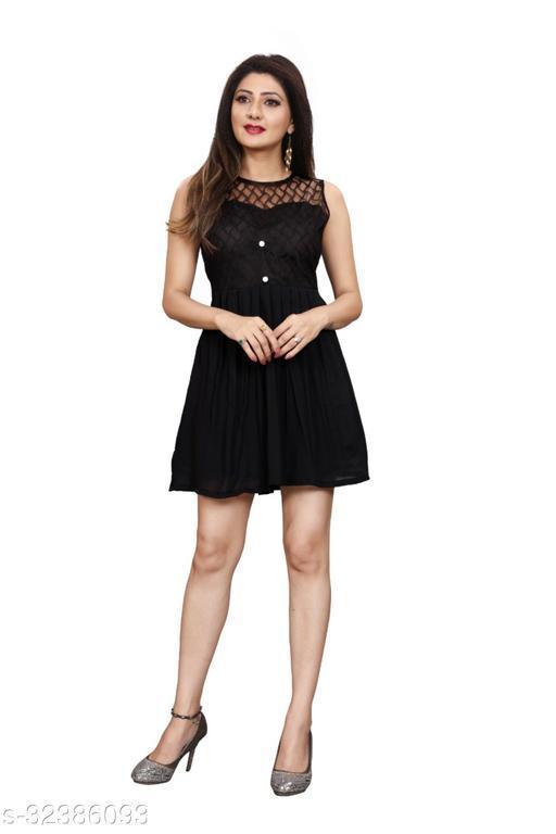 Western Label Geogette Women Casual Knee Length Midi | Mini Skater Dress - Black