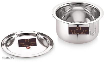 Neervika 1 Pcs Stainless Steel Induction & Gas Stove Friendly Container Set/Tope/Cookware Set with Lids - Size No.11 Pot 1 L with Lid(Stainless Steel)