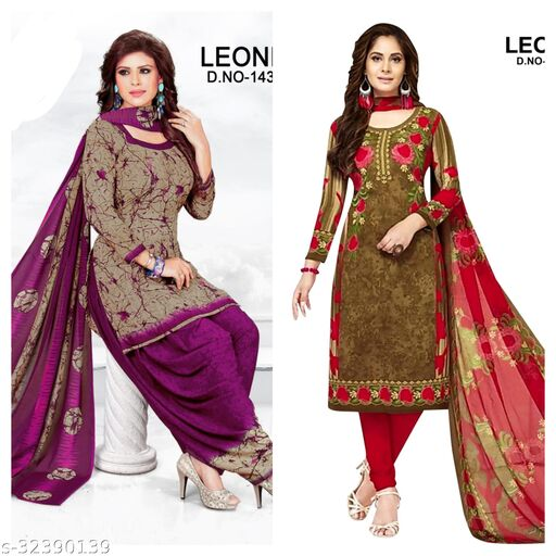 preety printed womens dress material(pack of 2)