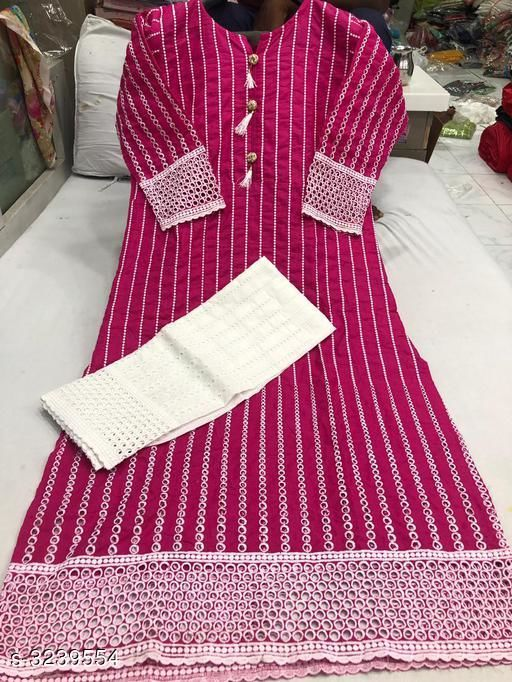 Kurta Sets Women Chikankari Cotton Kurta set with Palazzos  *Fabric* Kurti - Cotton ,  Palazzo - Cotton    *Sleeves* Sleeves Are Included    *Size* Kurti - L- 40 in, XXL-44 in, Palazzo - L- 32 in,  XXL- 36 in    *Length* Kurti- Up To 48 in, Palazzo - Up To 50 in    *Type* Stitched    *Description* It Has 1 Piece Of Kurti With 1 Piece Of Palazzo    *Work* Kurti - Chickenkari Work , Palazzo - Chickenkari Work  *Sizes Available* L, XXL, XXXL   Catalog Rating: ★3.9 (77) Supplier Rating: ★3.9 (60755) SKU: Kairaa-1-rani Shipping charges: Rs1 (Non-refundable) Pkt. Weight Range: 500  Catalog Name: Women's Embroidered Cotton Kurta Set with Palazzos - Payal Fashion Code: 396-3239554--518