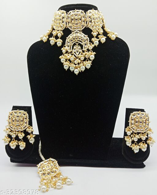 Jhalar Drops Square Part Kundan Necklace Set With Earring & Maangtika