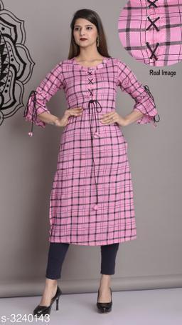 Women's Checked Rayon Kurti
