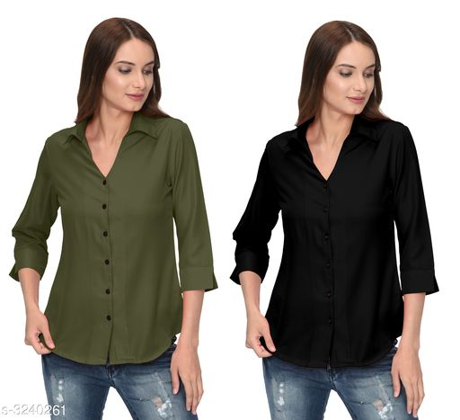 Glamorous Contemporary Women's Polyester Solid Women's Shirts(Pack Of 2)