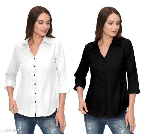 Fashionable Contemporary Women's Polyester Solid Women's Shirts(Pack Of 2)
