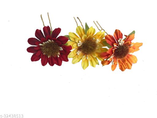 Arooman™ Set Of 3 Pcs Flower Style Hair Juda Pins For Hair Styling And Bun Decoration Accessories Pins Gajra for Women and Girls Color-Orange,Orange and Yellow