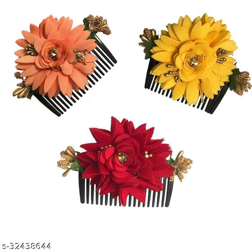 Arooman™ Bridal Fancy Hair Accessories Floral Clip Side Comb Juda Pin for Women and Girls Pack-03,Multicolor