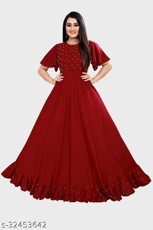 Jalar Maroon Kurti Come Gown