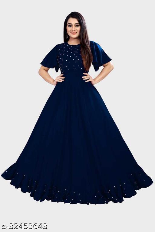 Jalar Navy Blue Kurti Come Gown